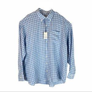 Peter Millar Crown Cool Linen Blue Plaid Shirt
